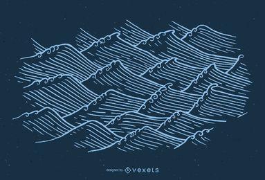 Ilustração de ondas asiáticas desenhada à mão