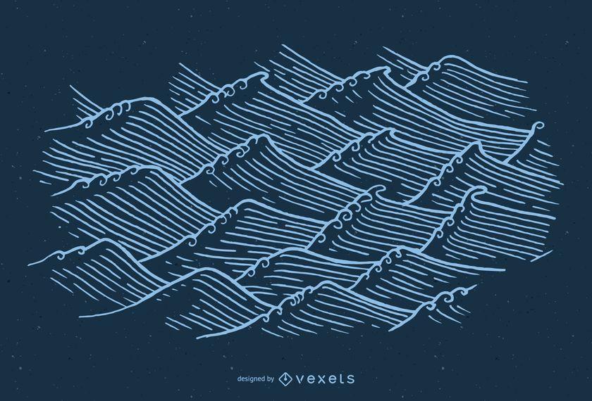 Mão, desenhado, asiático, ondas, ilustração