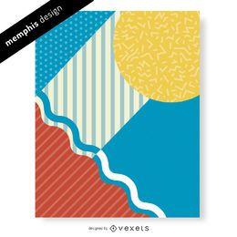 Diseño abstracto colorido de Memphis 90s