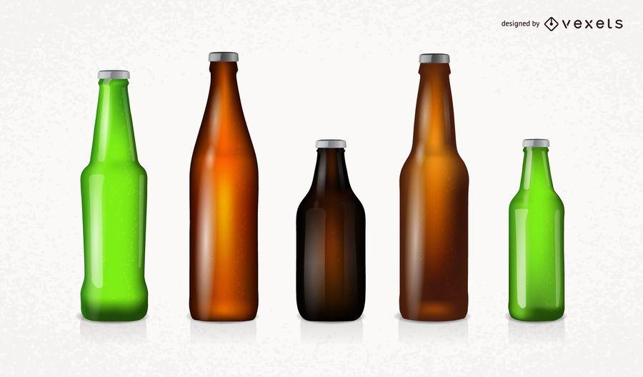 Conjunto de garrafas de cerveja hiper realista