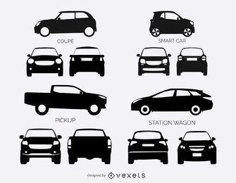 Conjunto de siluetas de coches y camionetas.