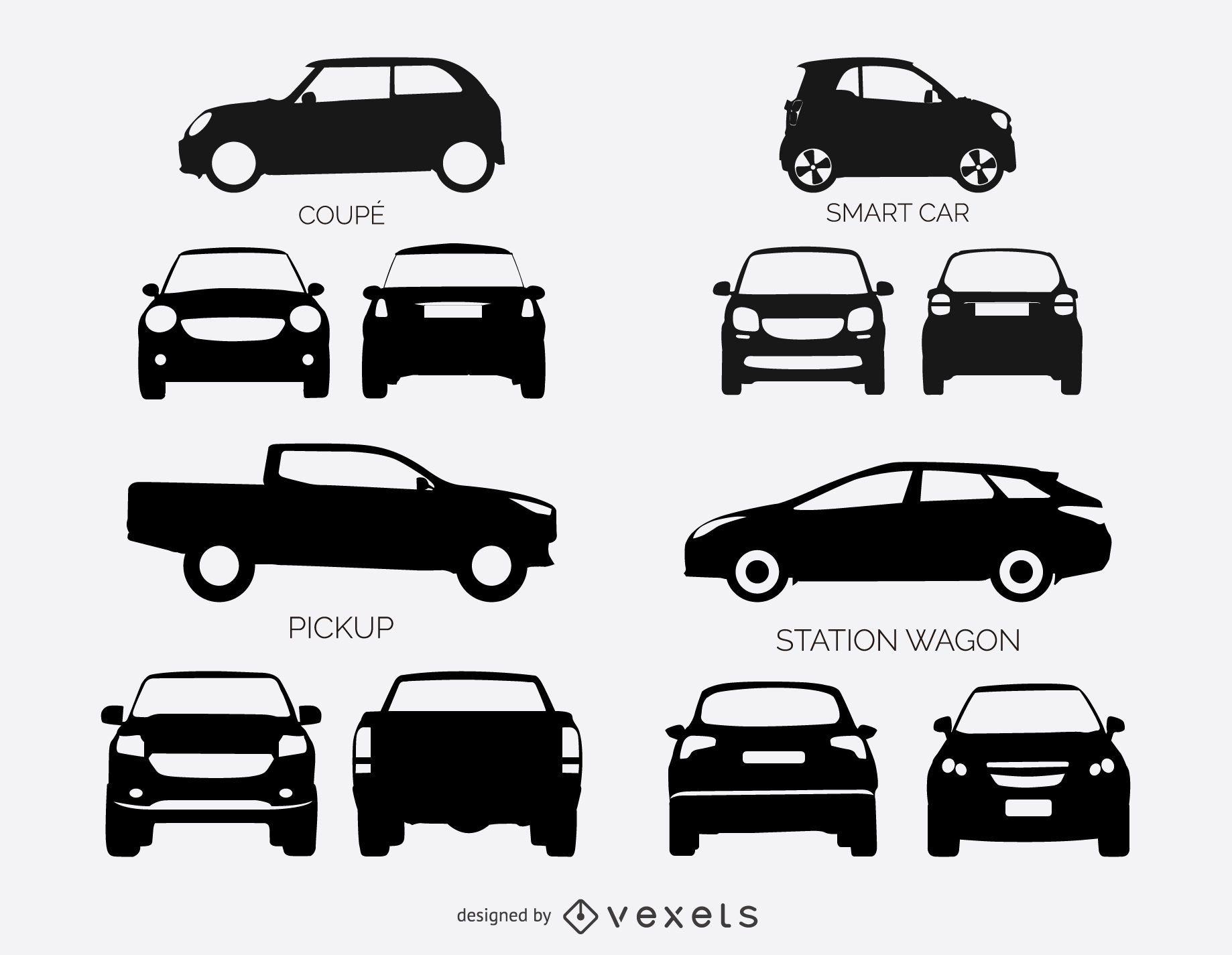 Conjunto de siluetas de coches y camionetas