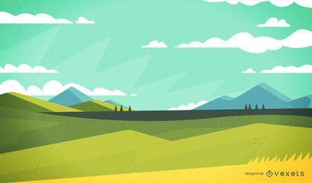 Ilustração da paisagem de campo tranquilo