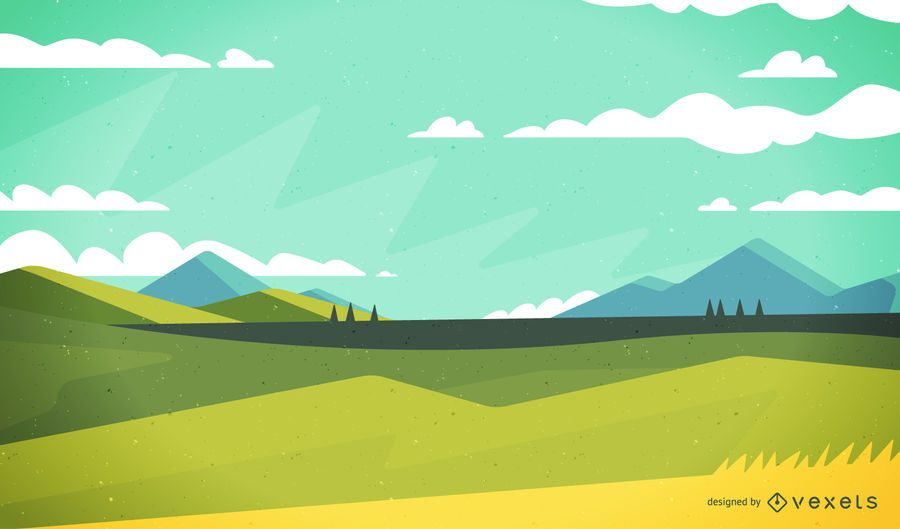Calm field landscape illustration