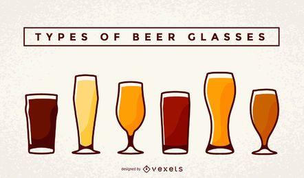 Conjunto de ilustración de vasos y pintas de cerveza
