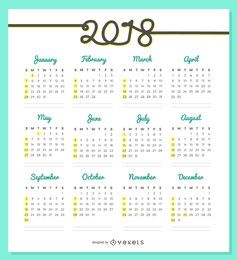 Delicado design do calendário 2018