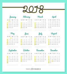 Design delicado do calendário 2018
