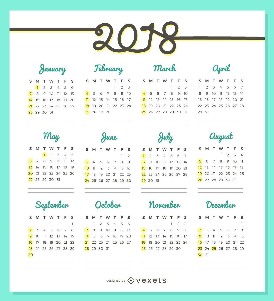 Delicado design do calend rio 2018 baixar vector for Calendario de pared 2018