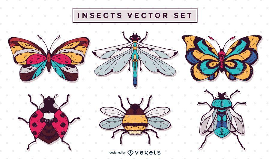 Conjunto de ilustração de inseto desenhada mão