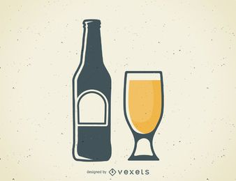 Icono de logotipo de taza y botella de cerveza