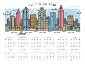 Calendário da skyline da cidade de 2018