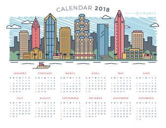 Ciudad skyline 2018 calendario