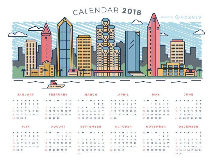 Ciudad skyline 2018 calendario