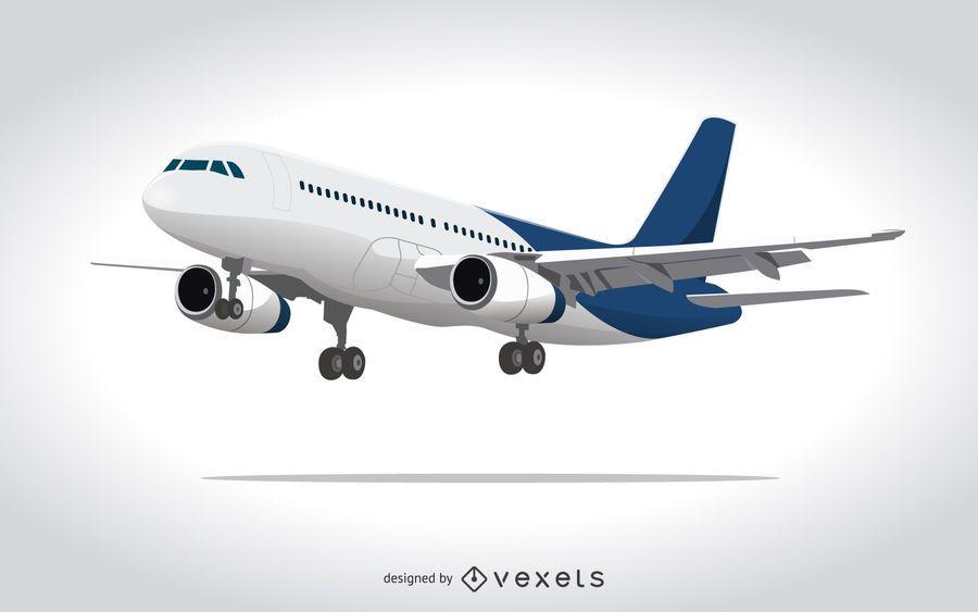Ilustração do avião comercial em 3D