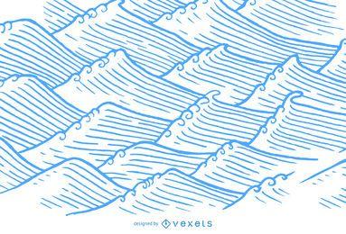 Ondas desenhadas à mão no estilo asiático de ilustração