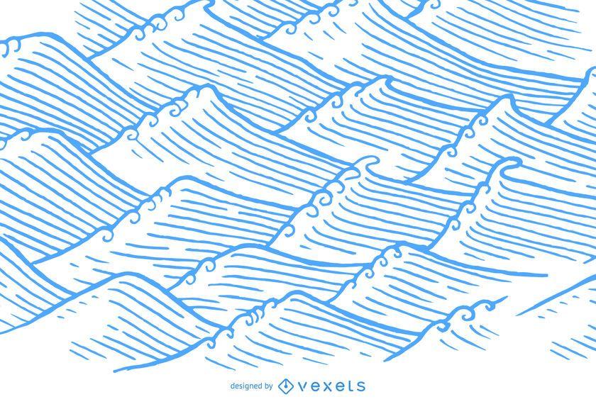 Dibujado a mano olas en estilo de ilustración asiática