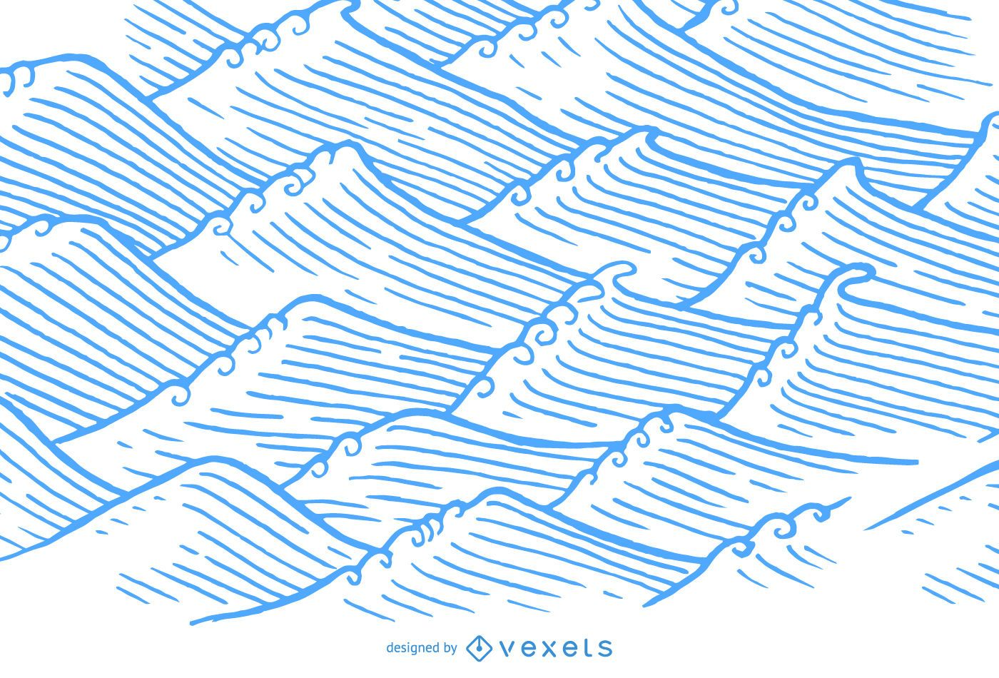 Hand drawn waves in asian illustration style