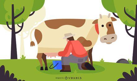 Ilustração plana da vaca leiteira