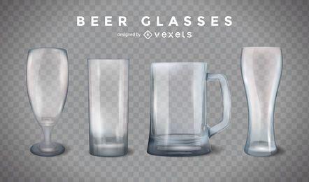 Copos de cerveja e conjunto de canecas