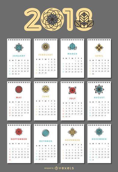 Calendário de 2018 com flores