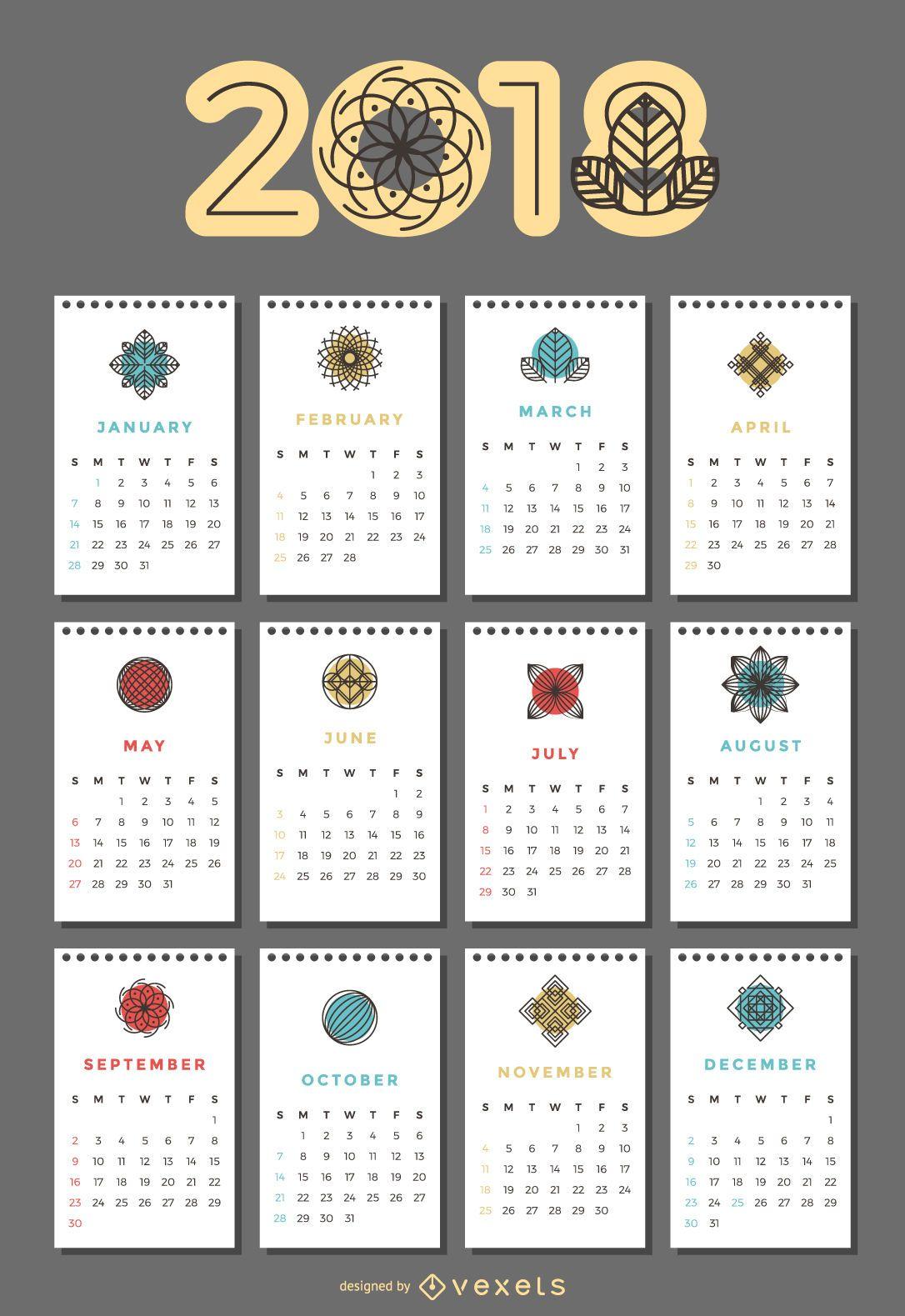 Calendario 2018 con flores