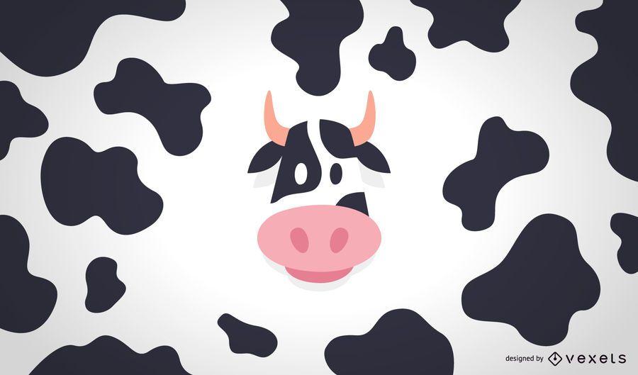 Ilustración de vaca plana y patrón