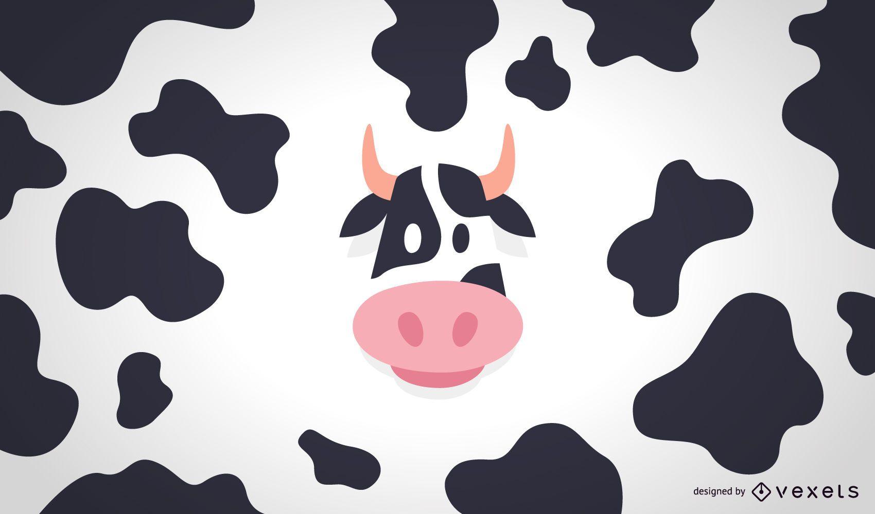 Ilustración y patrón de vaca plana