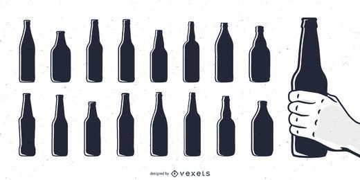 Bierflasche Silhouetten eingestellt
