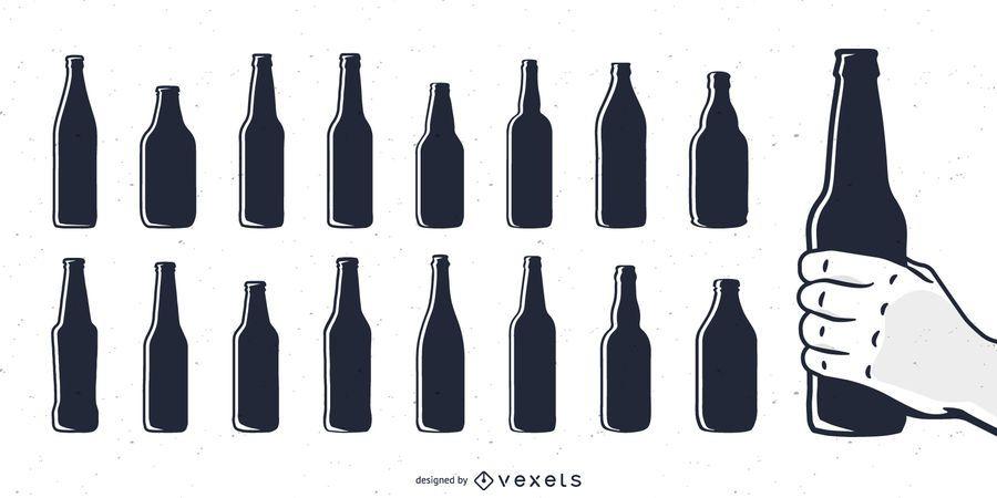 Beer bottle silhouettes set