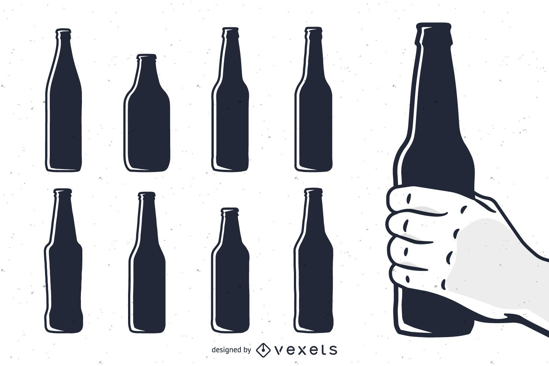 Botella De Cerveza Dibujo: Conjunto De Siluetas Botella De Cerveza