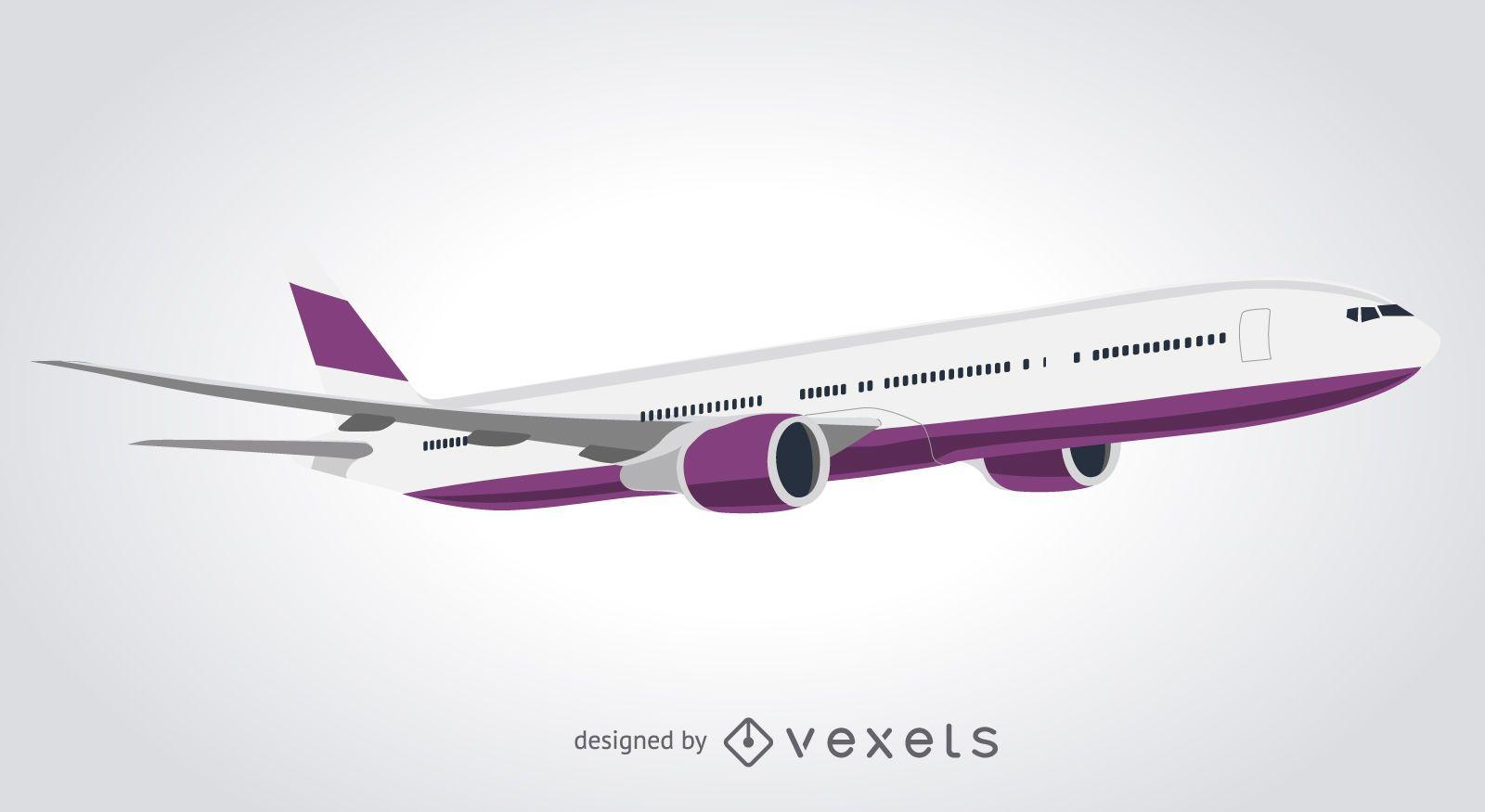 Diseño de avión comercial aislado