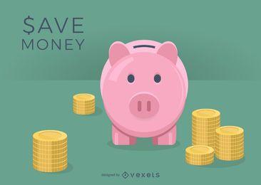 Dargestelltes Sparschwein mit Münzen