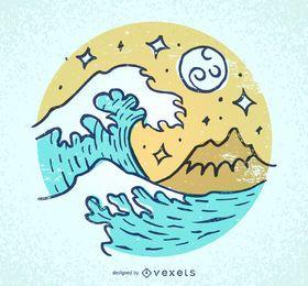 Olas ilustradas y playa