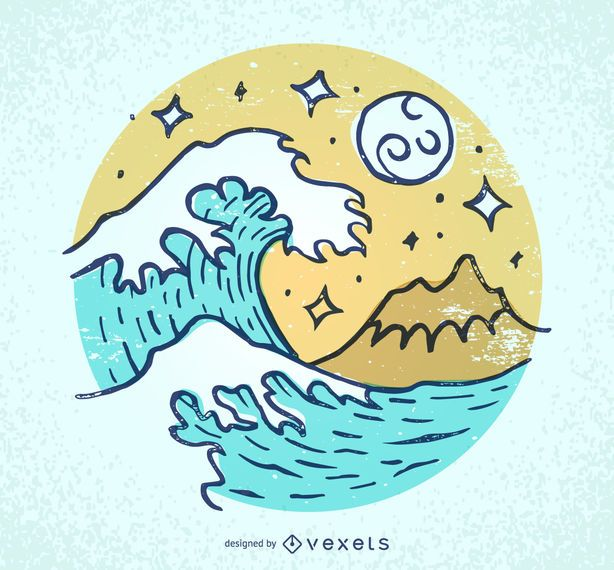 Illustrated waves and beach