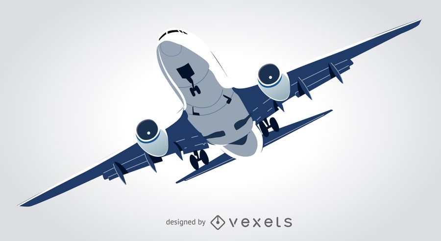Avião comercial, voando, ilustração