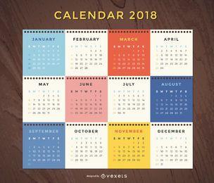 Calendário mensal de 2018