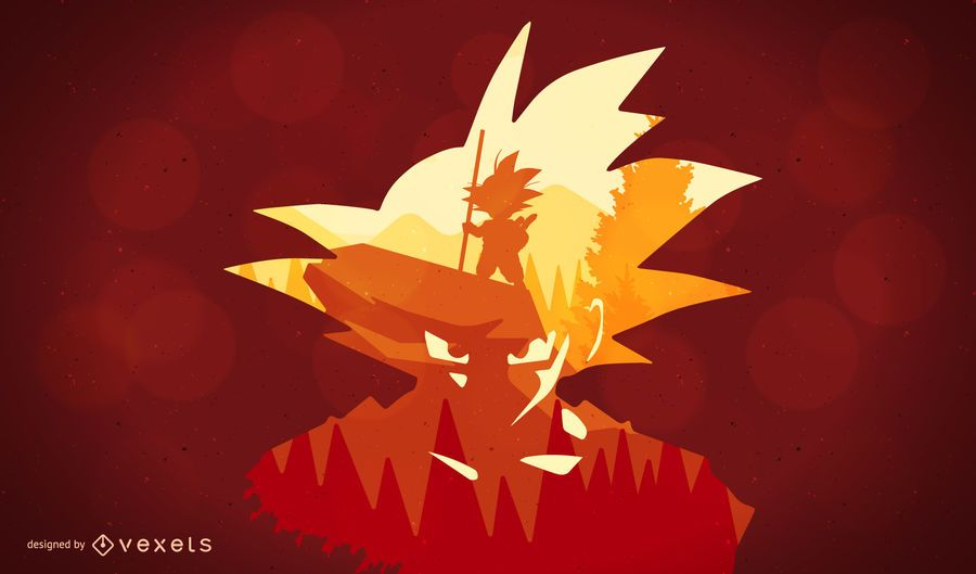 Ilustração da silhueta Dragon Ball