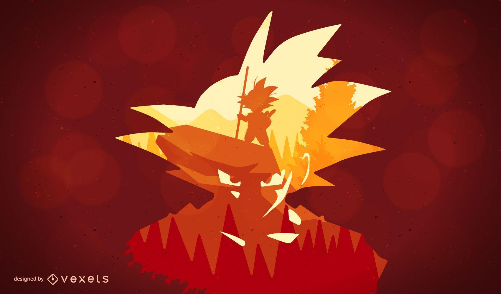 Ilustración de silueta de Dragon Ball