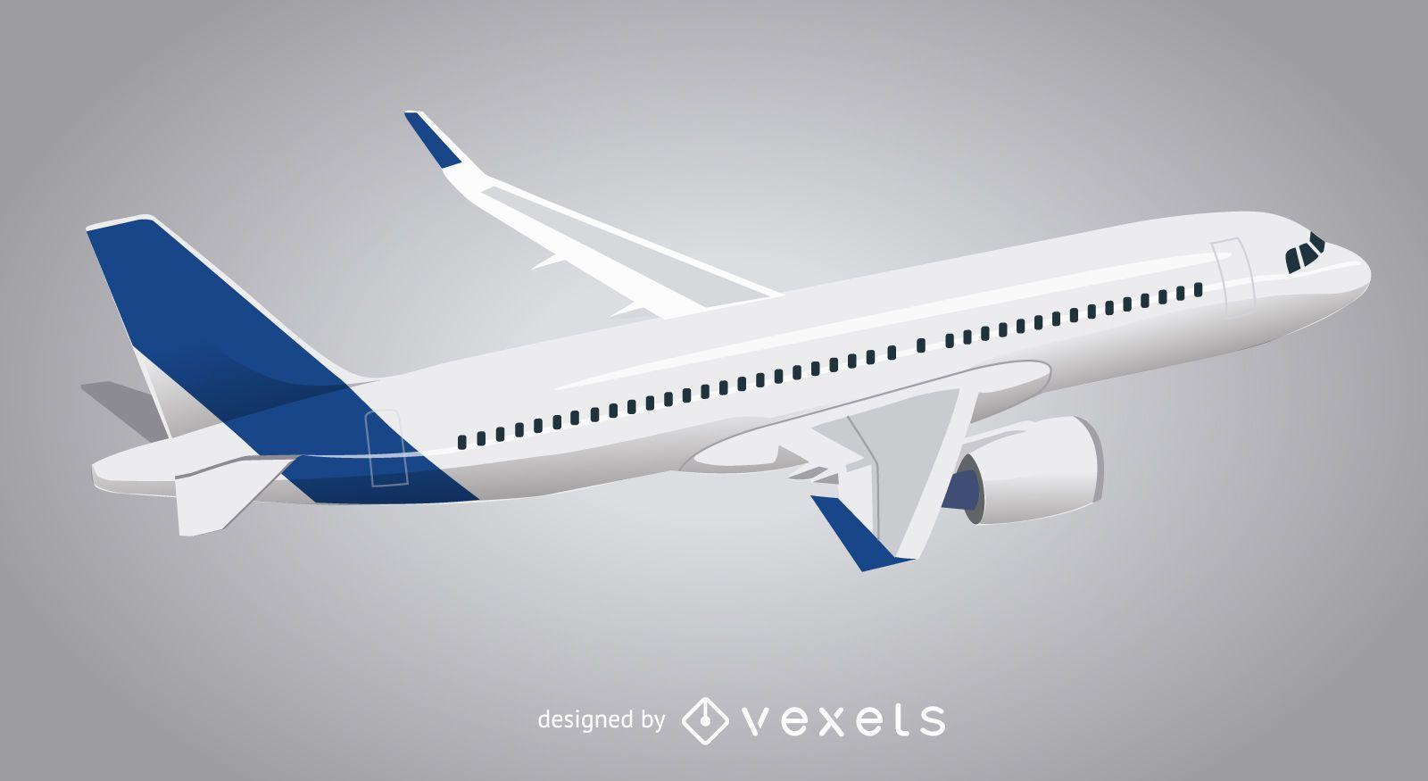 Ilustración de avión aislado 3D