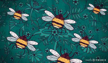 Hand drawn bumble bee background