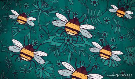Mão desenhada fundo de abelha