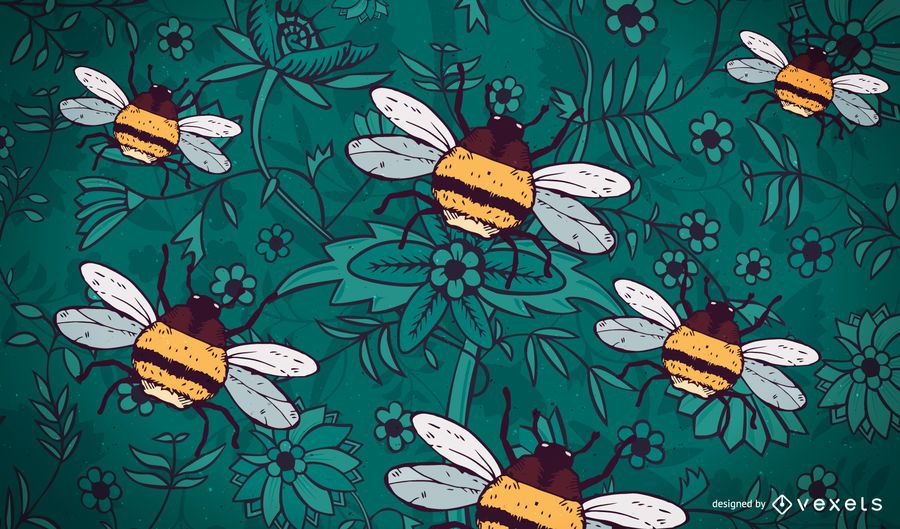Dibujado a mano fondo abeja abejorro