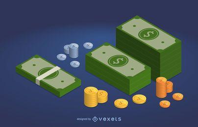 Ilustração de notas e moedas de dólar