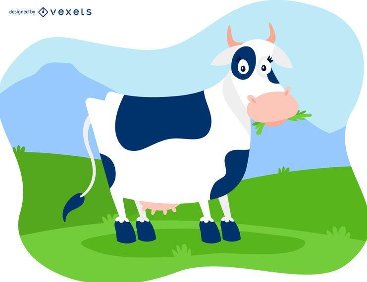 Ilustração de vaca amigável em um campo