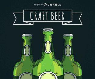 Garrafas de cerveja ilustradas com fita