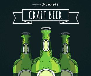 Illustrierte Bierflaschen mit Band