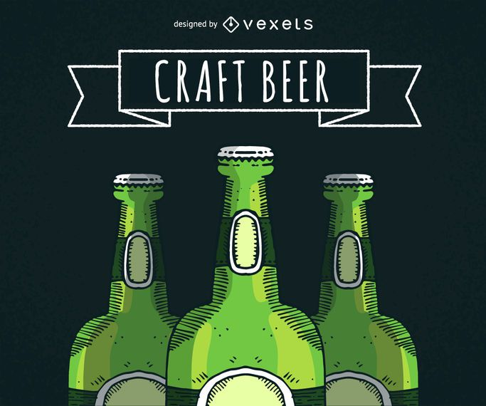 Illustrated beer bottles with ribbon