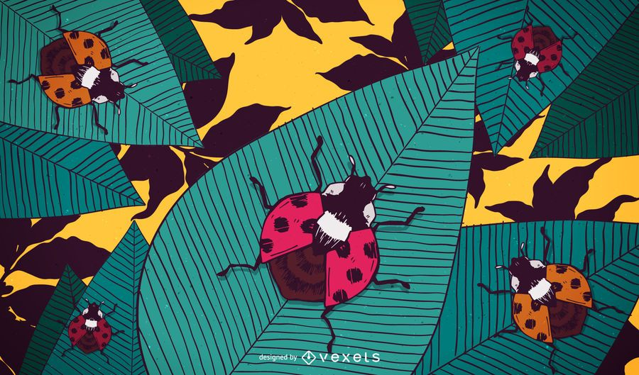 Illustrated ladybug wallpaper background