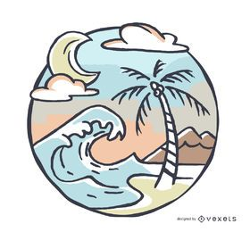 Island landscape illustration with wave and palm tree