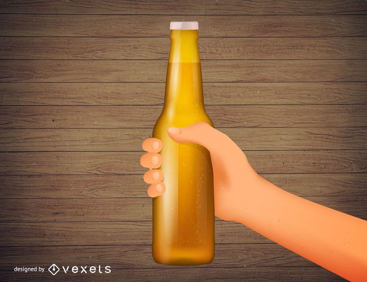 Mão segurando a ilustração realista de garrafa de cerveja